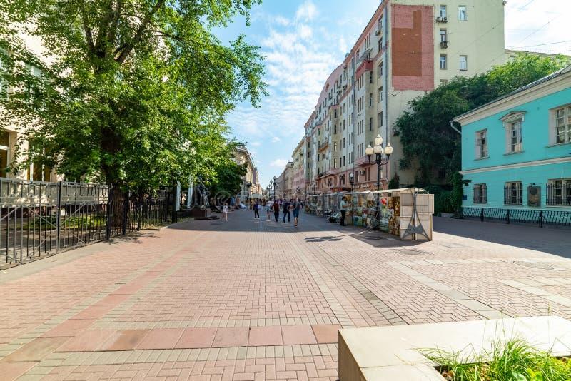 Widok Arbat jest jeden stare ulicy w Moskwa zdjęcia royalty free