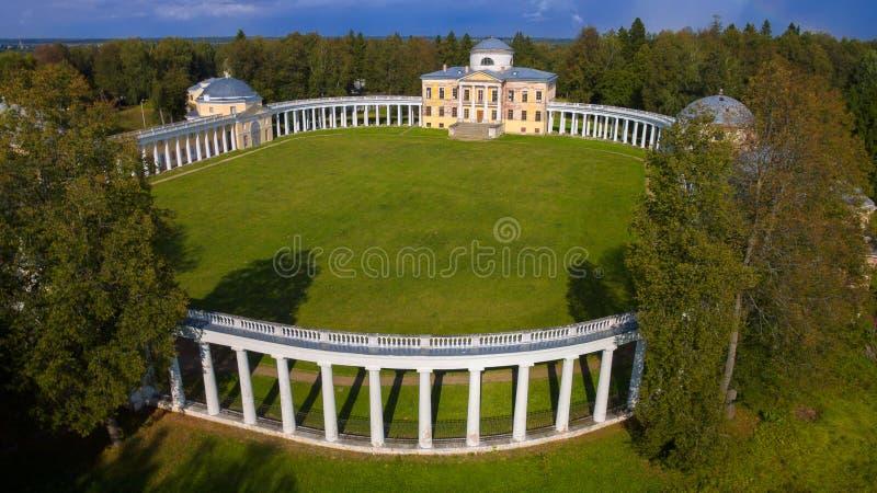 Widok Architektoniczna zespół rezydencja ziemska Znamenskoye-Rayok z góry fotografia stock