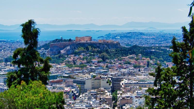 Widok Ateny miasto i akropol Od g?ry Lycabettus, Grecja zdjęcia royalty free