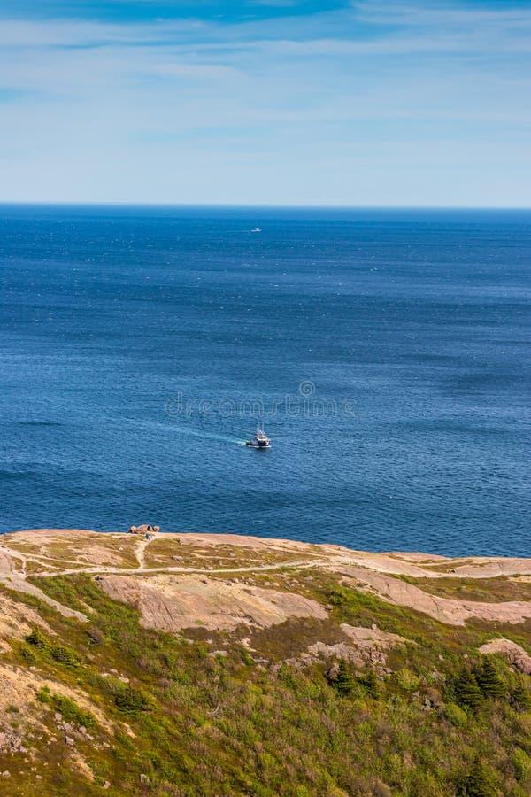 Widok Atlantycki ocean od Sygnałowego wzgórza, St Johns, wodołaz, Kanada obrazy stock