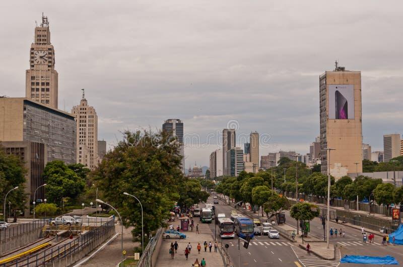 Widok Avenida Presidente Vargas aleja w Rio De Janeiro podczas karnawału obraz stock