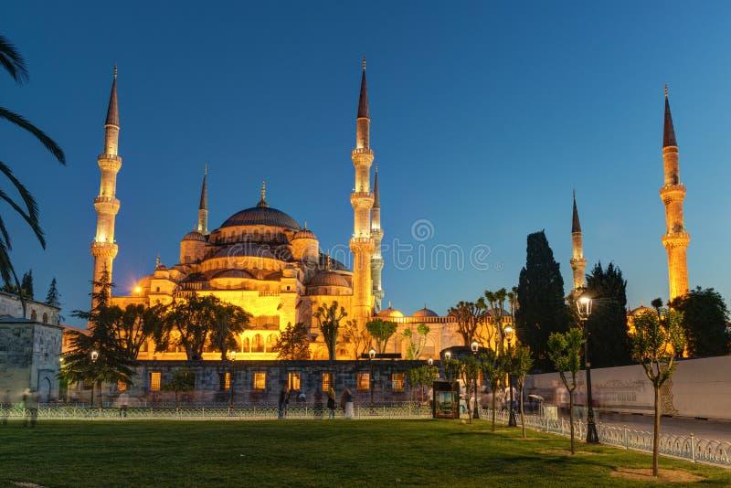 Widok Błękitny meczet przy nocą w Istanbuł, Turcja obraz stock