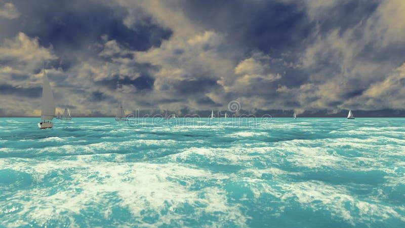 Widok błękitny ocean z żaglówkami na Pogodnym letnim dniu Lato scena świadczenia 3 d ilustracji