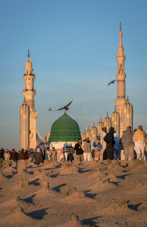 Widok Baqee ` Muzułmański cmentarz przy Masjid meczetowy Nabawi w Al M zdjęcia royalty free