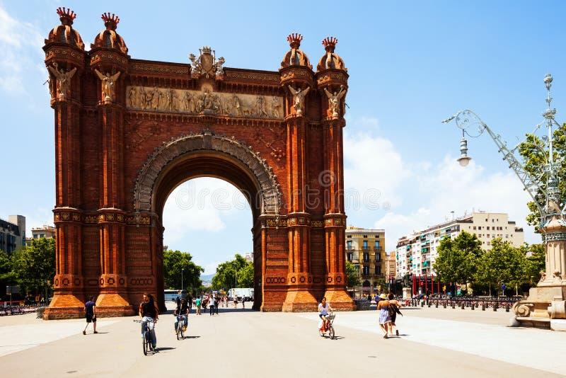 Widok Barcelona, Hiszpania. Łuk Del Triomf obrazy royalty free