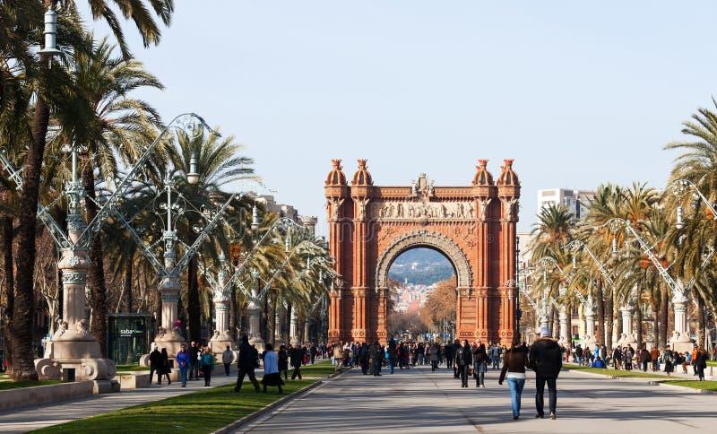 Widok Barcelona, Hiszpania. Łuk Del Triomf zdjęcia royalty free
