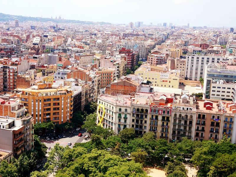 Widok Barcelona który otwiera od wzrosta wierza pasja w świątyni Sagrada Familia, zdjęcia stock
