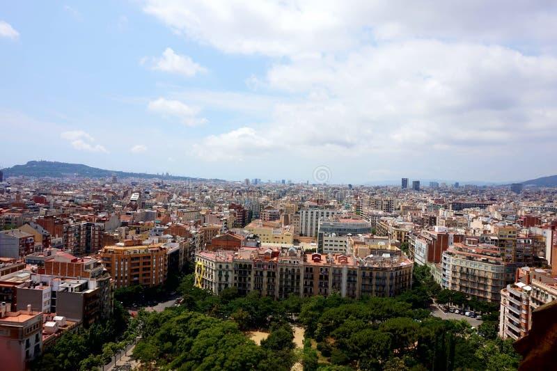 Widok Barcelona który otwiera od wzrosta wierza pasja w świątyni Sagrada Familia, fotografia stock