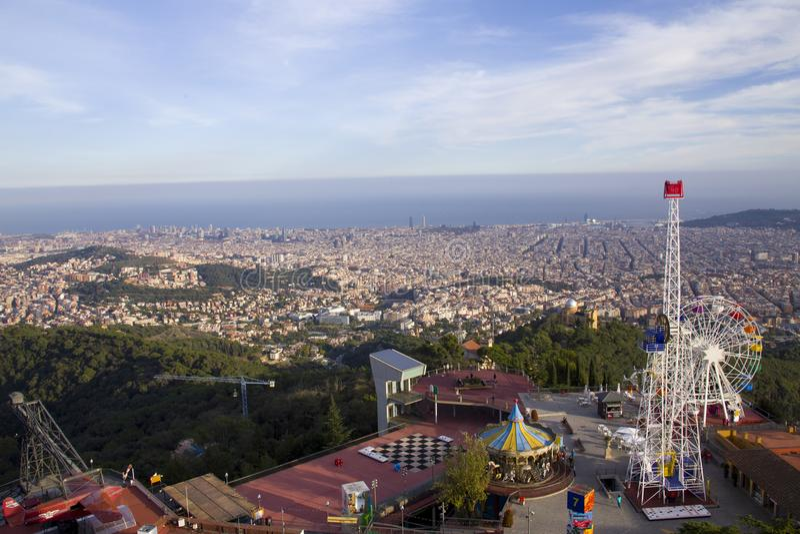 Widok Barcelona, Tibidabo obraz stock