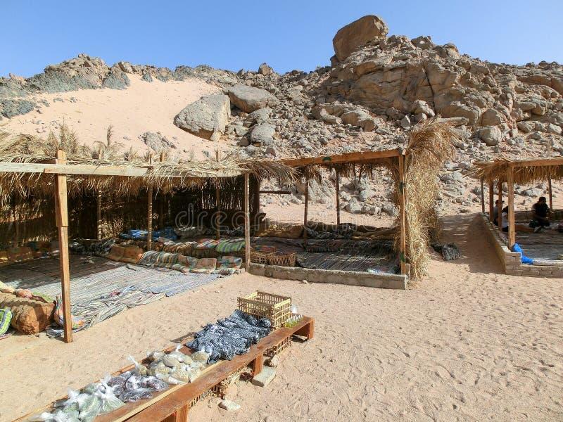 widok beduiński namiot dla turystów z jasnym niebieskim niebem nad ono, sharm el sheik, Egypt fotografia royalty free