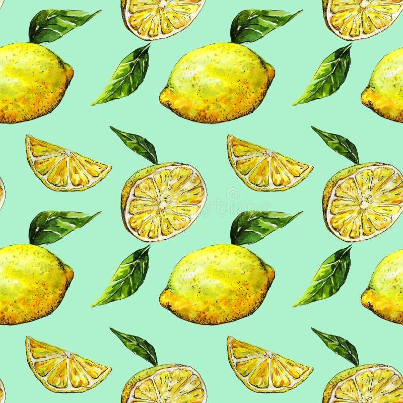Widok bezszwowy wzór żółte cytryny i zieleń opuszcza na błękitnym tle akwarela royalty ilustracja