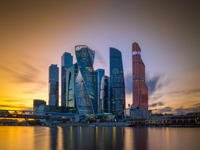 Widok biznesowa ćwiartka w mieście Moskwa Rosja obrazy stock