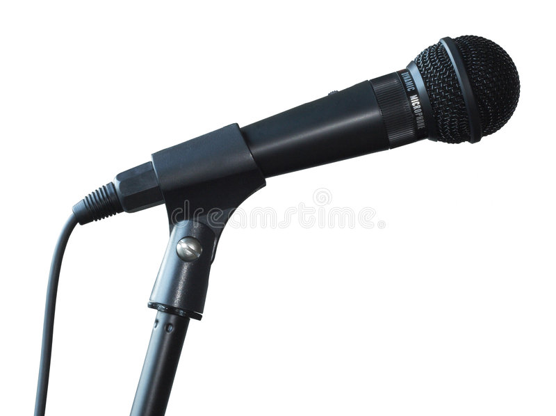 widok boczny odizolowane mikrofonu obrazy stock