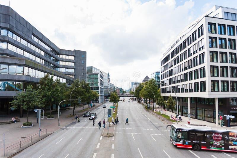 Widok Brandt ulicy w Hamburg fotografia stock