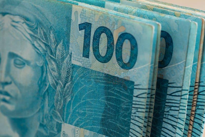 Widok Brazylijski pieniądze, reais, wysoki nominalny zdjęcia royalty free