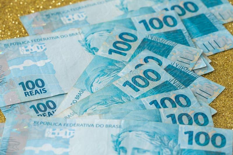 Widok Brazylijski pieniądze, reais/wysoko nominalni zdjęcie royalty free