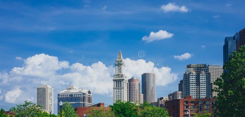 Widok budynki i skycrapers w w centrum Boston w Boston, fotografia stock