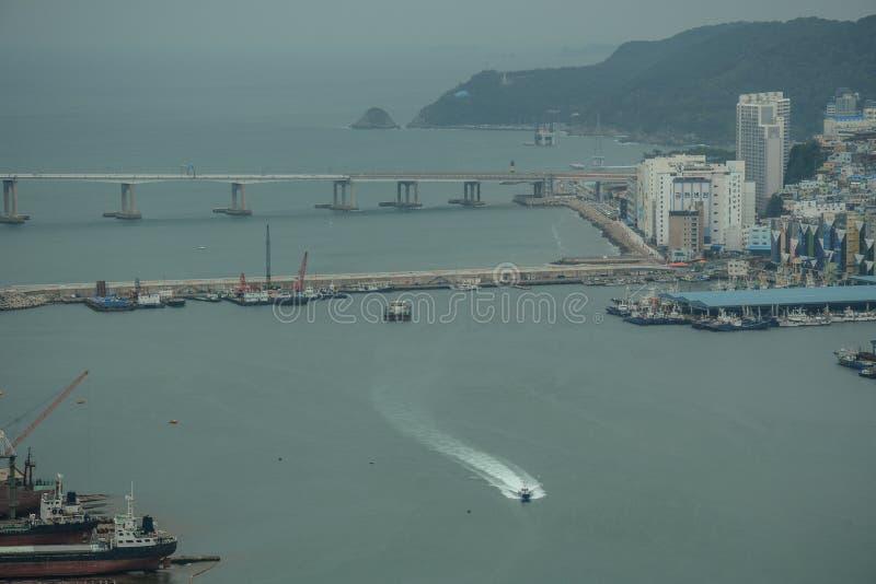 Widok Busan port od Lotte budynku zdjęcia royalty free
