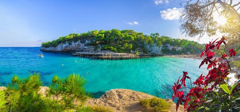 Widok Cala Llombards, Mallorca wyspa, Hiszpania obraz stock