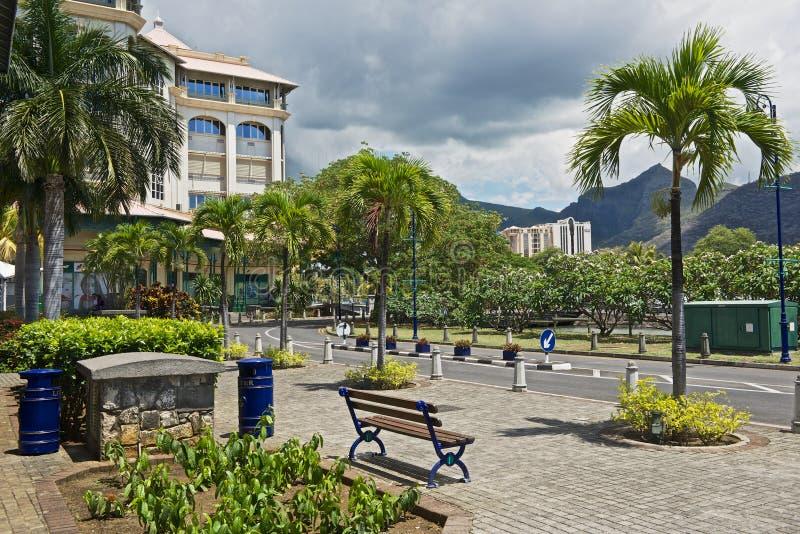 Widok Caudan nadbrzeżna ulica w Portowym Louis, Mauritius obraz stock