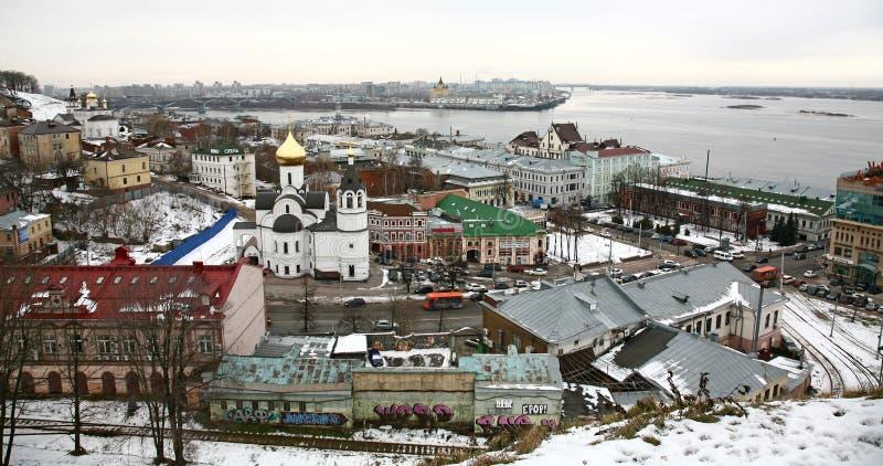 Widok centrum Nizhny Novgorod od Kremlin zdjęcie royalty free