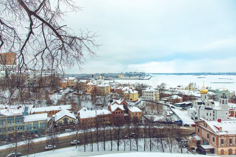 Widok centrum Nizhny Novgorod od Kremlin fotografia stock