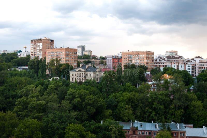 Widok centrum Nizhny Novgorod od Kremlin nizhny novgorod Rosja obraz stock