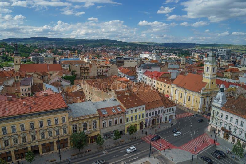 Widok Cluj Napoca centrum miasta od dachu w lecie obrazy royalty free