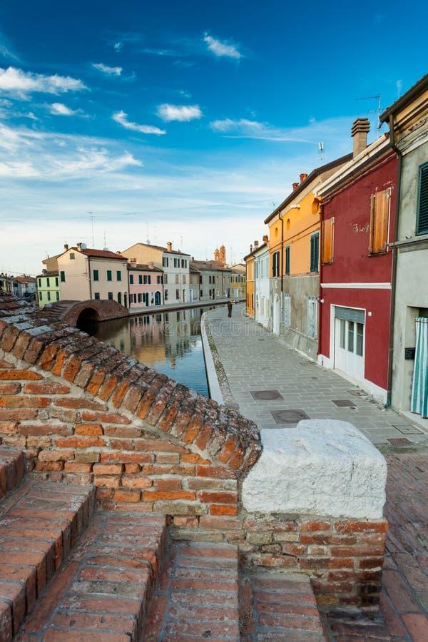 Widok Comacchio, Ferrara, Włochy zdjęcie royalty free