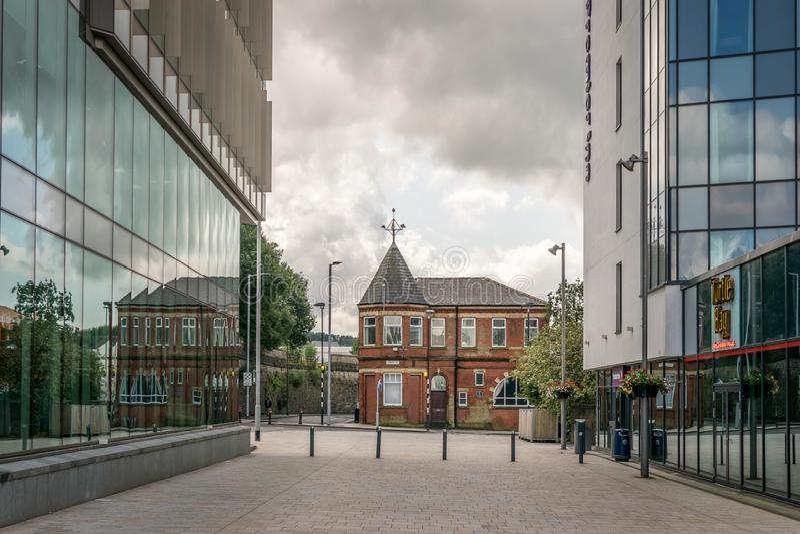 Widok czerwonej cegły, która wygenerowała energię elektryczną z Blackburn. zdjęcie royalty free