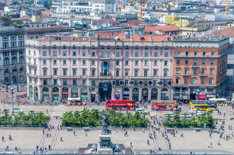 Widok dla piazza Del Duomo Katedra kwadrata od dachu Mediolańska katedra obrazy stock