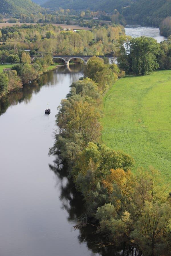 Widok Dordogne rzeka od Beynac kasztelu Francja obraz royalty free