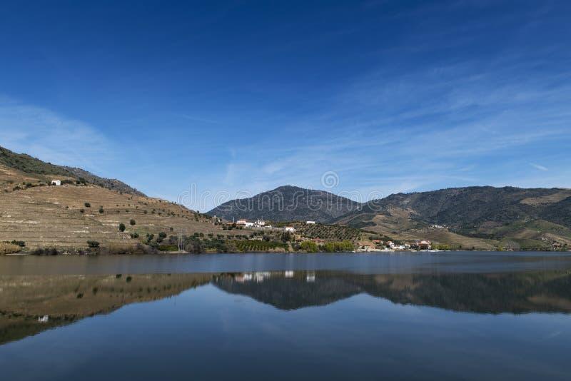 Widok Douro rzeka z tarasowatymi winnicami blisko wioski Foz Coa w Portugalia, zdjęcie royalty free