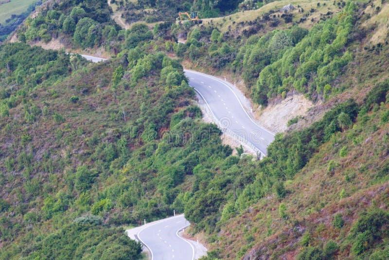 Widok droga od Bennetts blefu punktu obserwacyjnego, Jeziorny Wakatipu, Nowa Zelandia obrazy royalty free