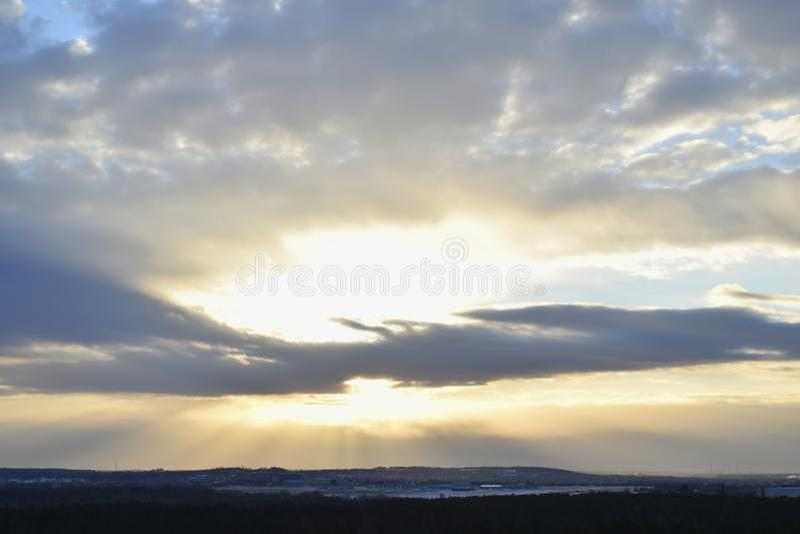 Widok duża chmura i zmierzch fotografia royalty free