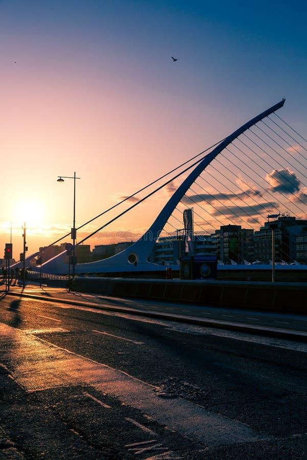 Widok Dublin ` s Samuel Beckett sławny most nad rzecznym Lif fotografia stock