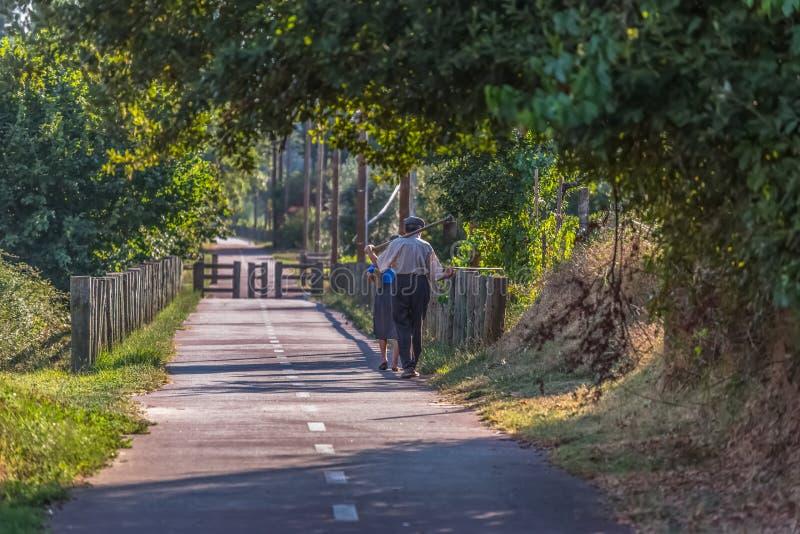 Widok eco pieszy, cyklu pas ruchu z parą starszy rolnicy, odprowadzenie i przewożeń rolniczy narzędzia/, fotografia stock