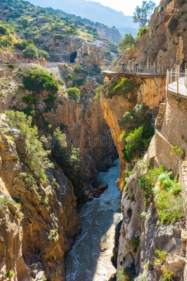Widok El Caminito Del Rey atrakcja turystyczna Malaga, Hiszpania zdjęcie royalty free