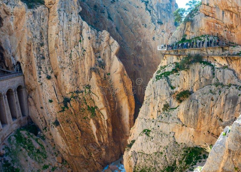 Widok El Caminito Del Rey atrakcja turystyczna Malaga, Hiszpania zdjęcie stock