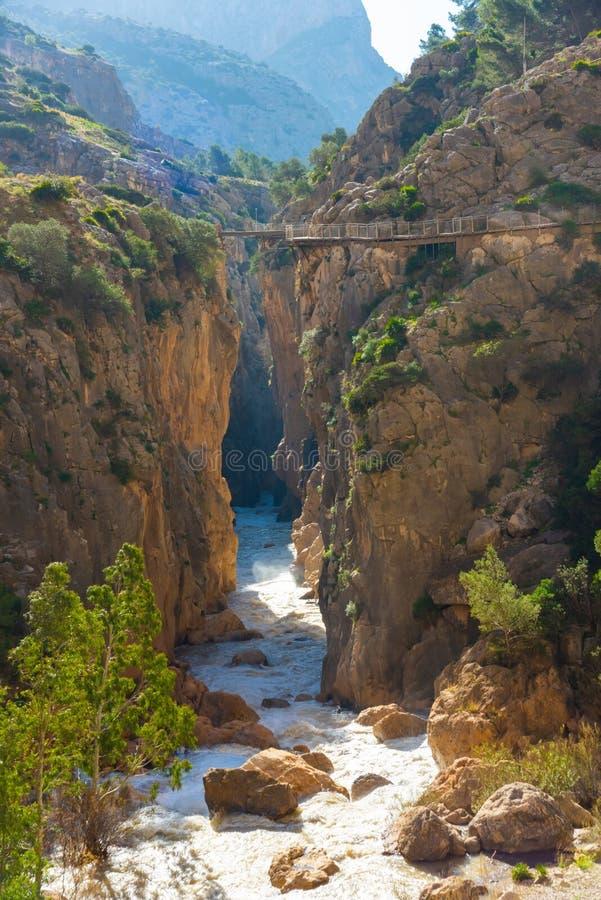 Widok El Caminito Del Rey atrakcja turystyczna Malaga, Hiszpania obrazy royalty free