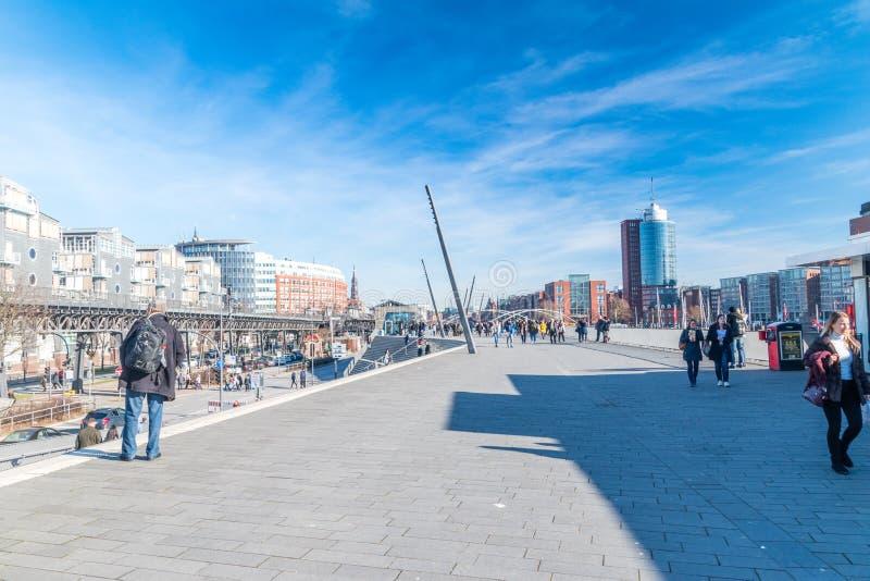 Widok Elbpromenade w Hamburg fotografia royalty free