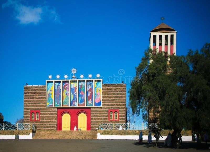 Widok Enda Mariam katedra, Asmara, Erytrea obrazy royalty free