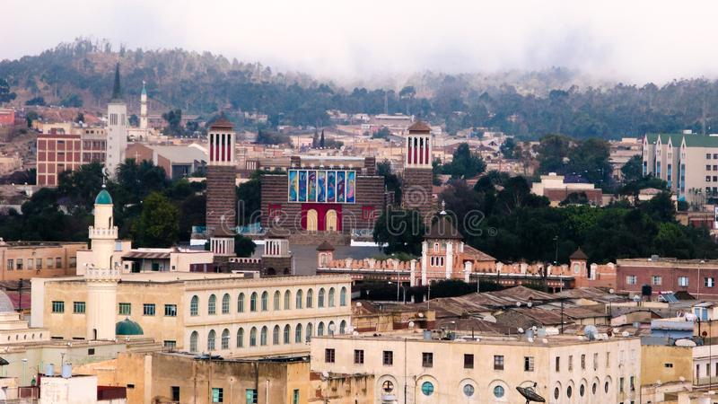 Widok Enda Mariam katedra przy Asmara, Erytrea obraz royalty free