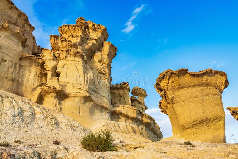 Widok erozje Bolnuevo, Las Gredas, Mazarron Murcia, Hiszpania zdjęcie stock