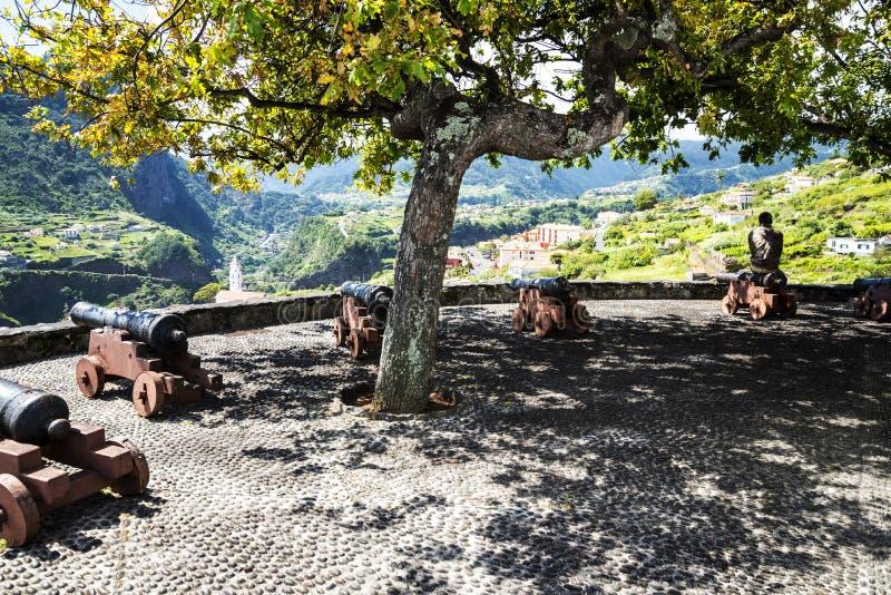 Widok Faial i skała Penha De à  orła lub guia, madera, Portugalia obrazy stock