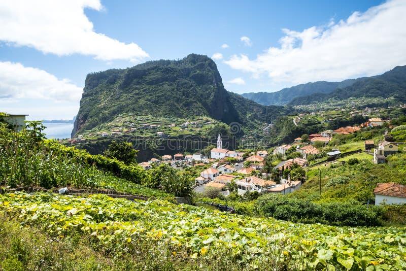 Widok Faial i skała Penha De à  orła lub guia, madera, Portugalia fotografia royalty free