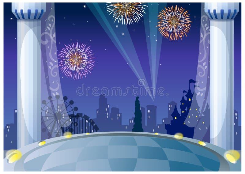 Widok fajerwerki nad miastem royalty ilustracja