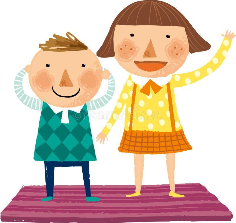 Widok familyThe widok dzieci ilustracji