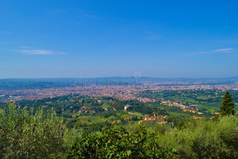 Widok Florencja od wierzchołka Fiesole, Włochy zdjęcia stock