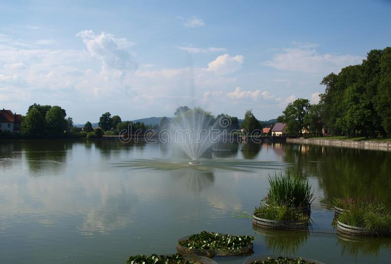 Widok fontanna, zdroju park, Kudowa Zdroj obraz royalty free